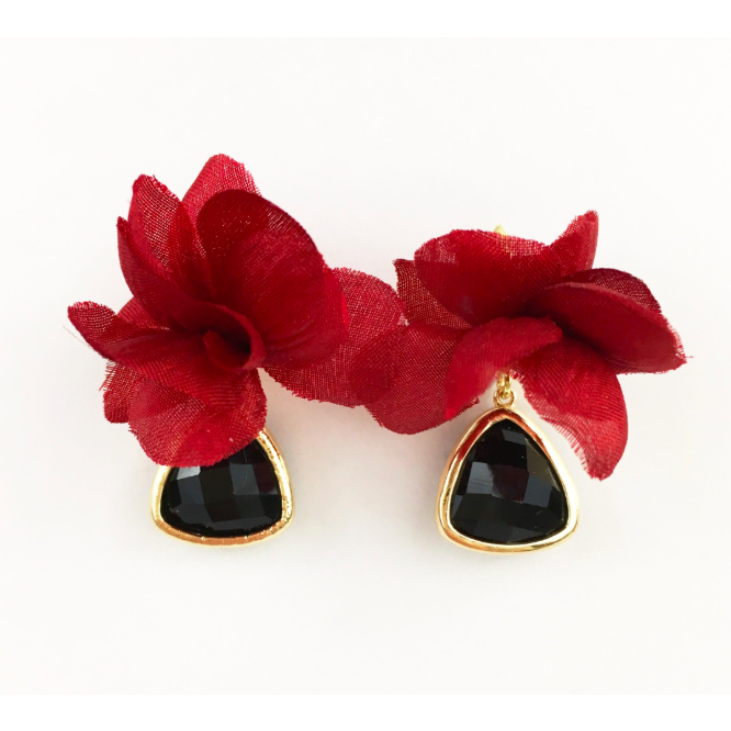 zzGarnet Flower with Black Stone Earrings - The Boho Sophisticate
