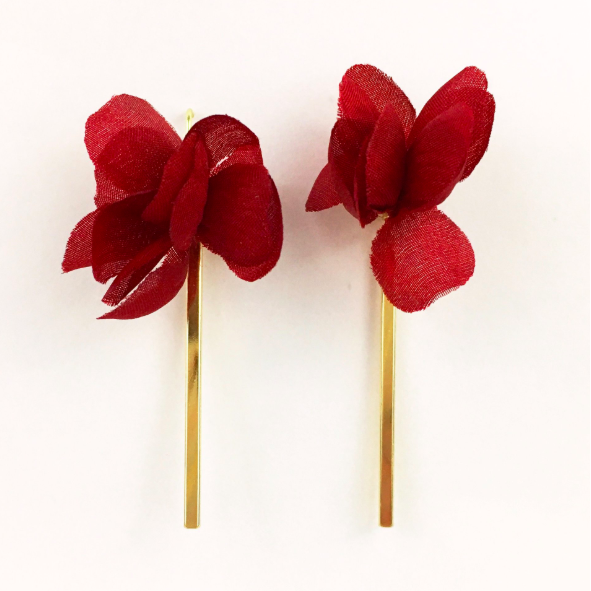 Garnet Flower with Gold Bar Earrings