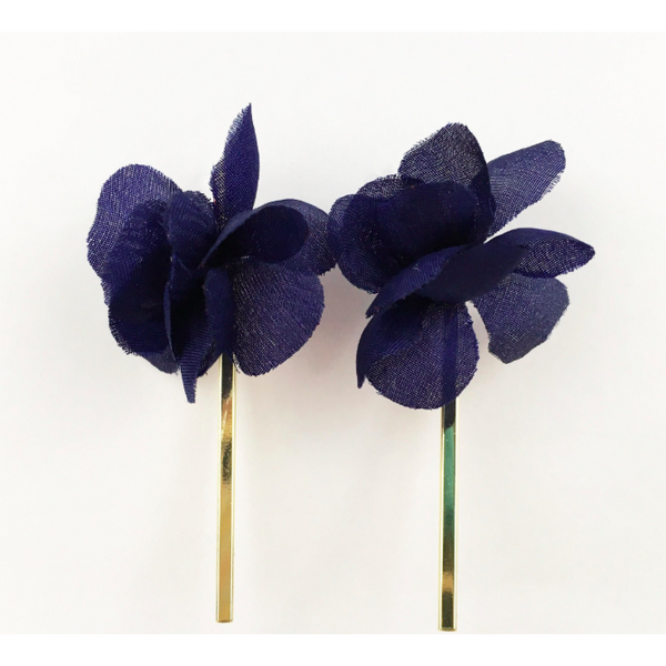 Navy Flower with Gold Bar Earrings