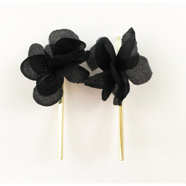 zzBlack Flower with Gold Bar Earrings - The Boho Sophisticate
