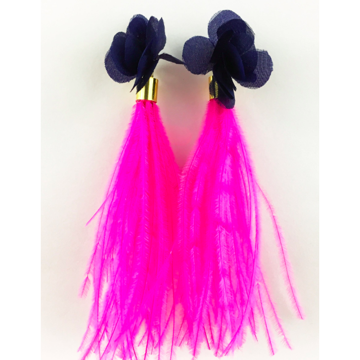 ZzNavy Flower with Hot Pink Ostrich Feathers Earrings - The Boho Sophisticate