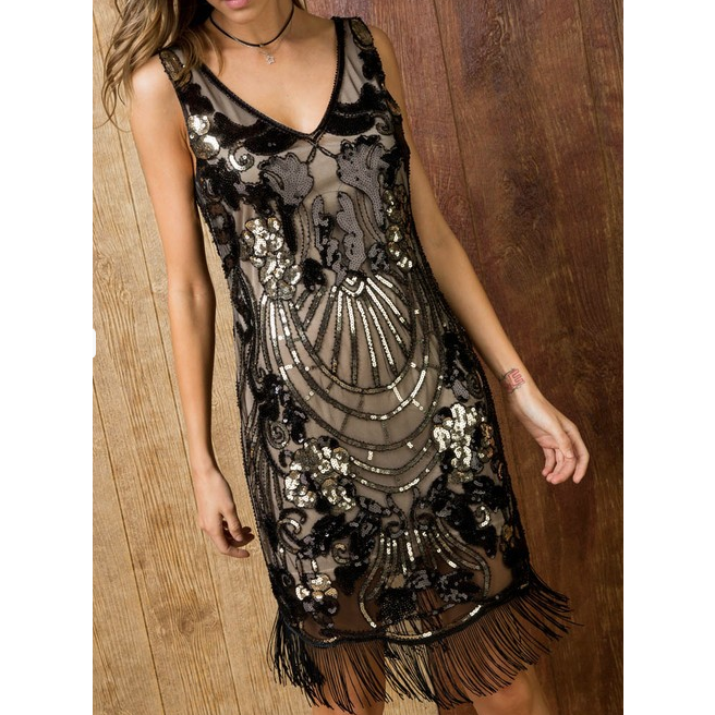 Sequin Mesh V-Neck Mini Fringe Tank Dress - The Boho Sophisticate