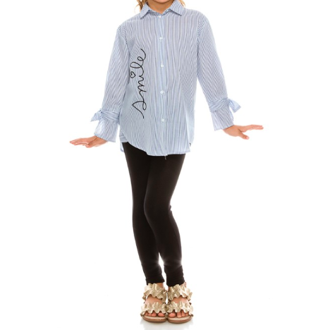 Girls Smile Emoji Stripped Button Down Shirt