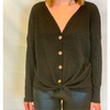 Thermal Knit Tie Front Top - The Boho Sophisticate