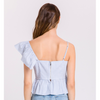 One Shoulder Ruffle Seersucker Camisole - The Boho Sophisticate