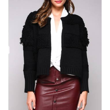 zzBlack Cropped Sweater Jacket - The Boho Sophisticate