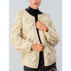 ZzChunky Crochet Knit Pom Pom Cardigan - Cream - The Boho Sophisticate