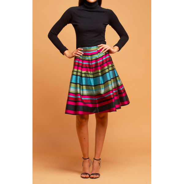 Twirl Away Striped Taffeta Skirt