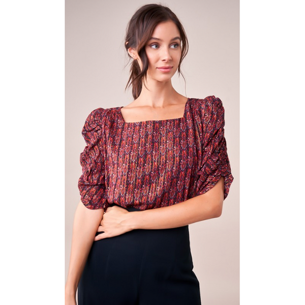Erin Red Metallic Puff Sleeve Blouse - The Boho Sophisticate
