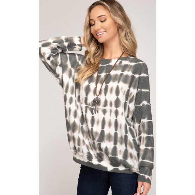zzBritt Long Sleeve Tie-Dyed Knit Top - The Boho Sophisticate