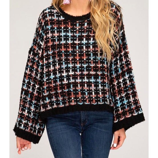 Lady Wide Sleeve Textured Tweed Sweater - The Boho Sophisticate