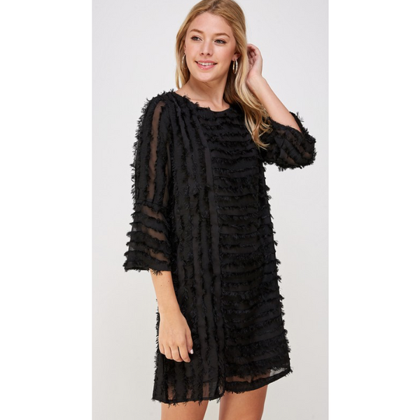 Paige Fringe Ruffle 3/4 Sleeve Dress - The Boho Sophisticate