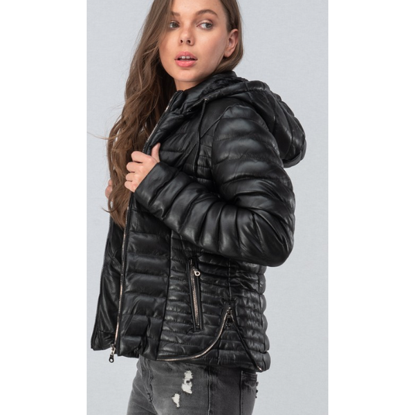 Faux-Fur Lined Leather Racer Hoodie Jacket - The Boho Sophisticate