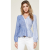 Cassi Striped Long Sleeve Wrap Top - The Boho Sophisticate