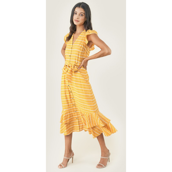 Sutton Flutter Sleeve Striped Button Down Midi Dress - The Boho Sophisticate