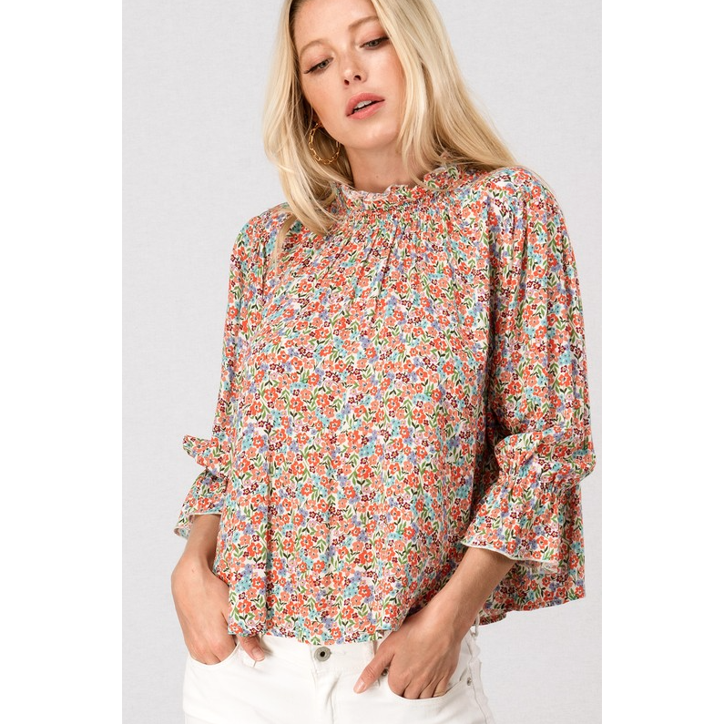 Melanie Floral Print Bishop Sleeve Blouse - The Boho Sophisticate
