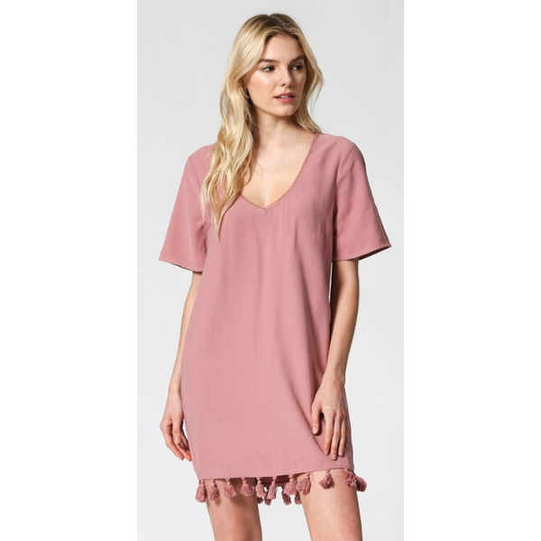 Ansley Short Sleeve Tassel Dress - The Boho Sophisticate
