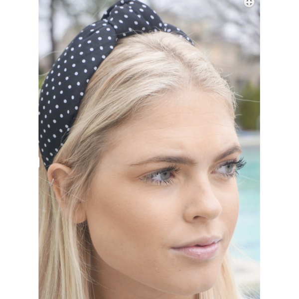 Black and White Polka Dot Top Know Headband - The Boho Sophisticate