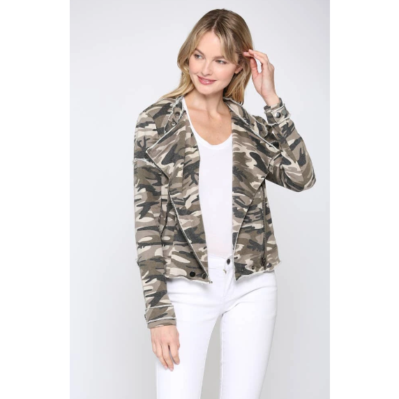 Camo Moto Terry Jacket - The Boho Sophisticate