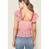 Summer Rose Eyelet Red and White Peplum Top - The Boho Sophisticate