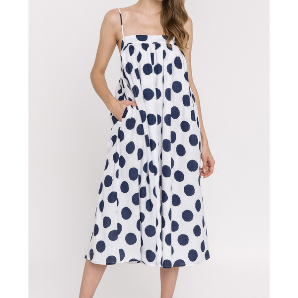 Sunny Navy Polka Dot Sundress
