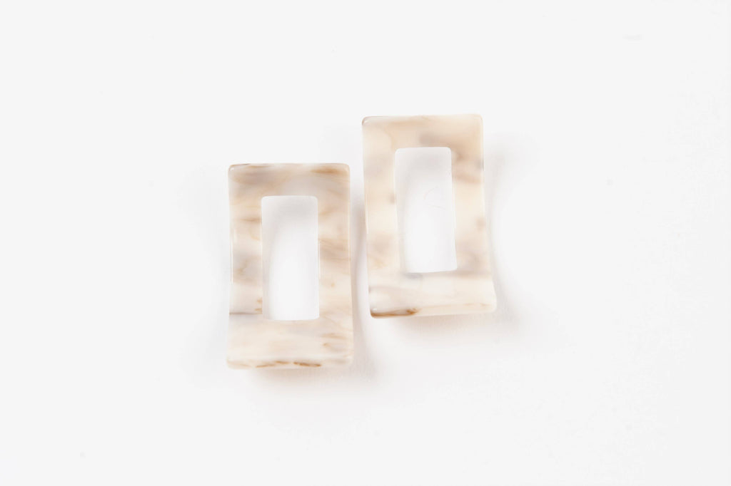 Blonde Tortoise Shell Square Earrings - The Boho Sophisticate