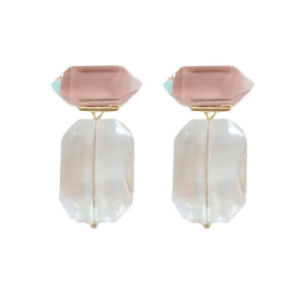 Pink Gumdrop Glass Earrings - The Boho Sophisticate