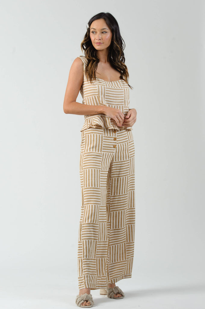 August Mini Peplum Top in Granola Stripe - The Boho Sophisticate