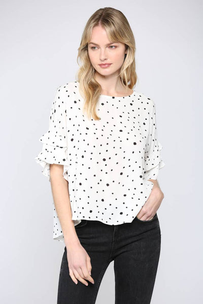 Sally Polka Dot Ruffle Sleeve Top - The Boho Sophisticate