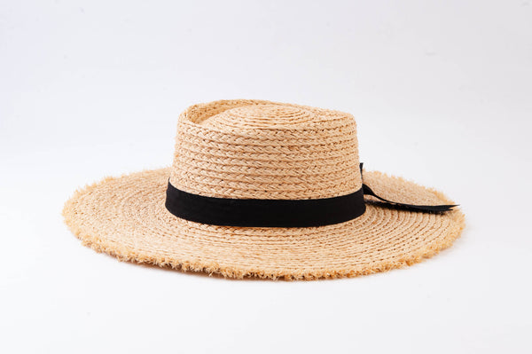 "Raw Edge Straw ""Bow-ter"" Sun Hat - The Boho Sophisticate"