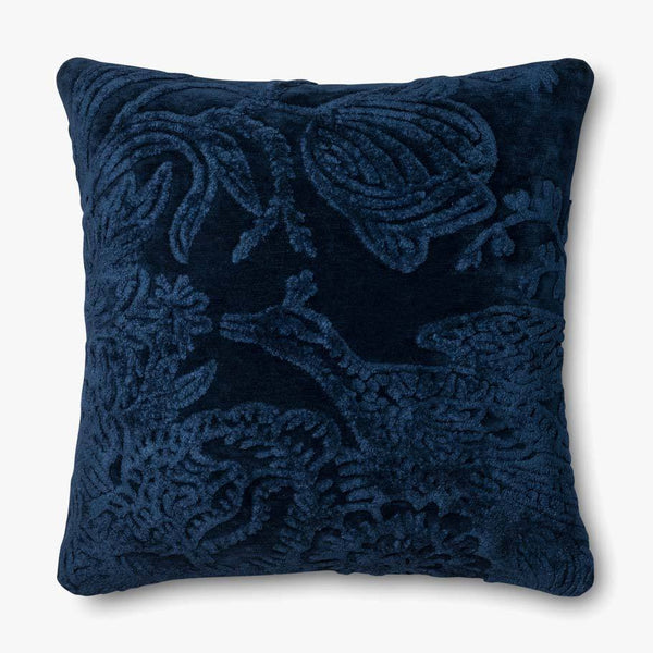Large Textured Floral Indigo Pillow - The Boho Sophisticate
