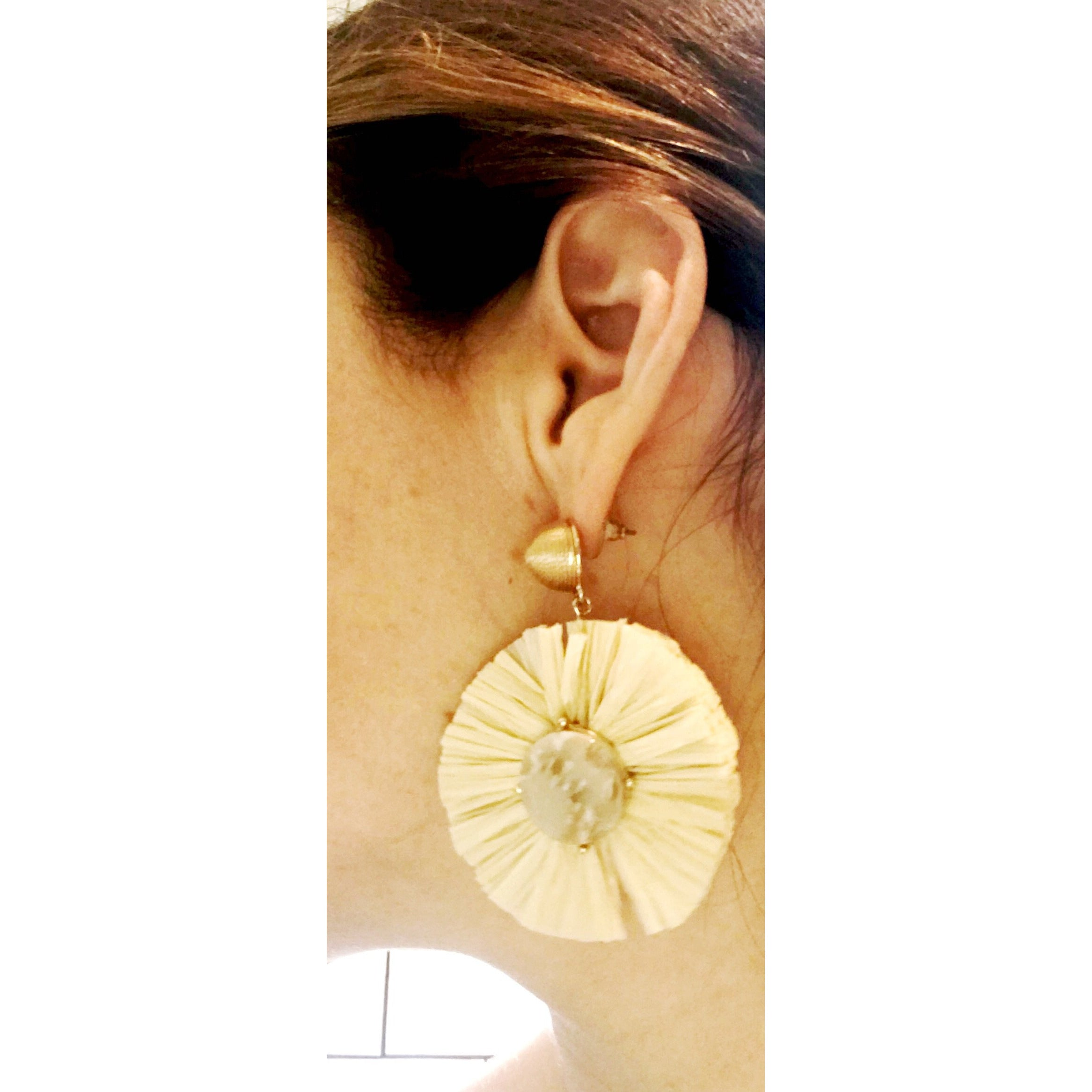 Natural Thread-Wrapped Post & Raffia Fan Drop Earring with Stone