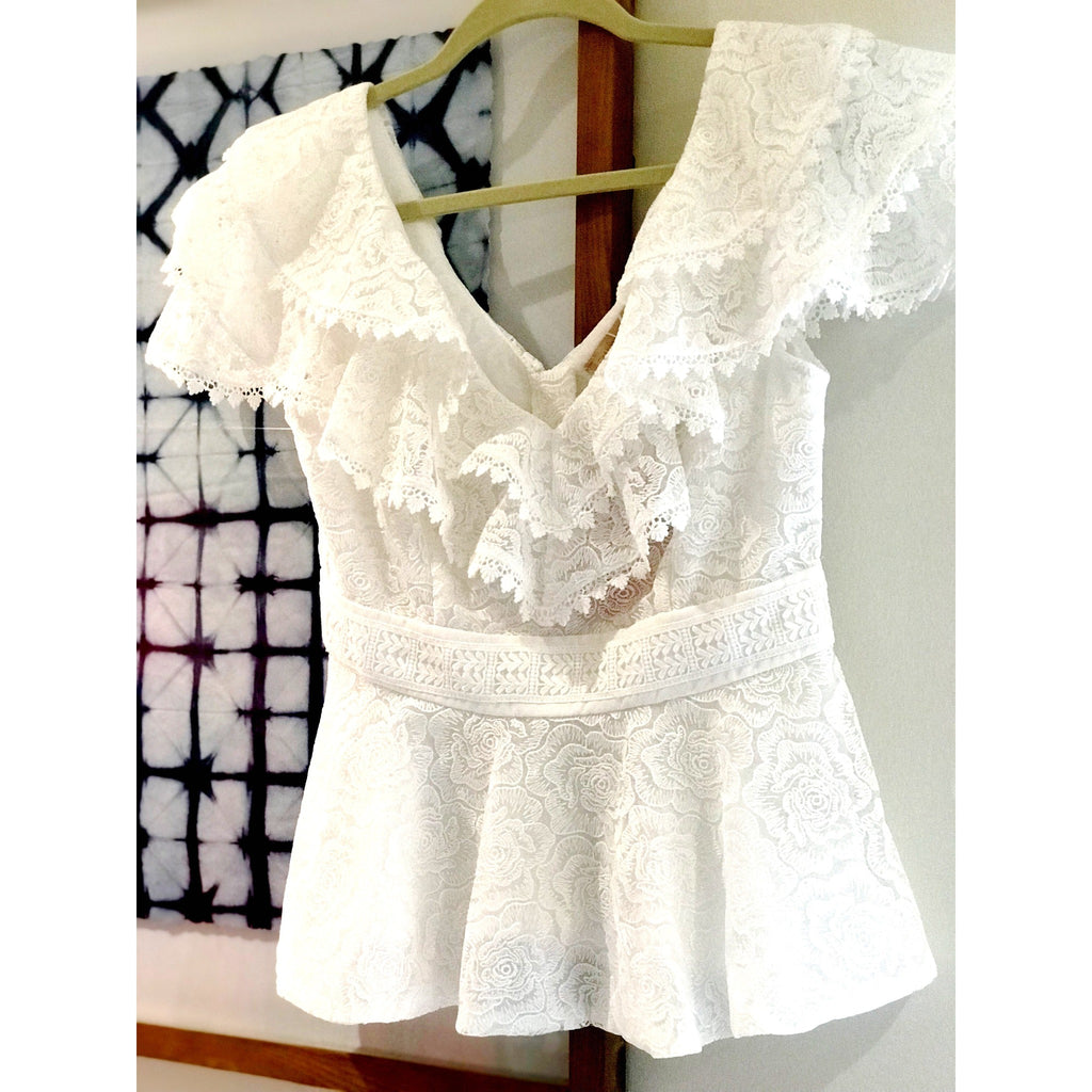 Amanda Top - White Lace with Deep Neck, Ruffles - The Boho Sophisticate