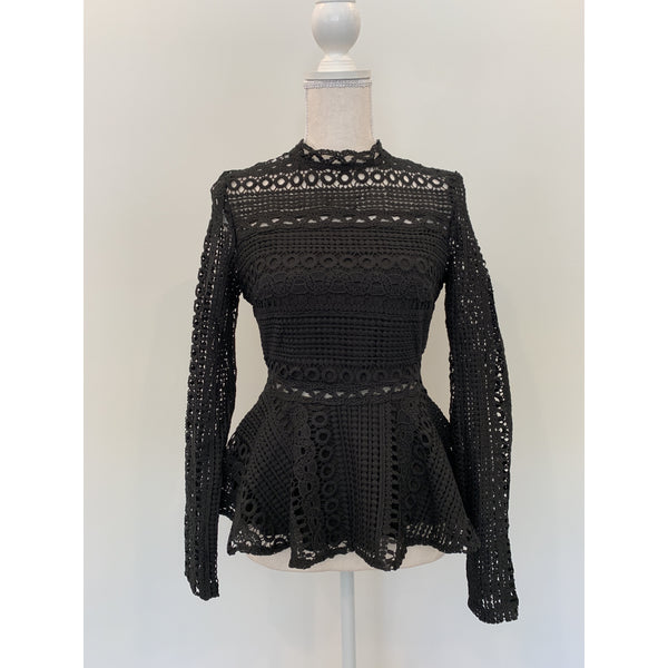 Crochet Peplum Top in Black - The Boho Sophisticate