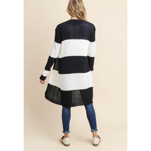 Wide Stripe Long Ribbed Cardigan