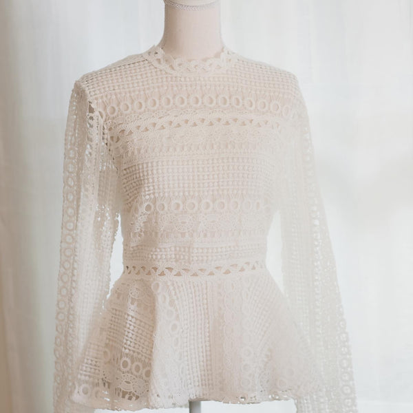 Crochet Peplum Top in White - The Boho Sophisticate