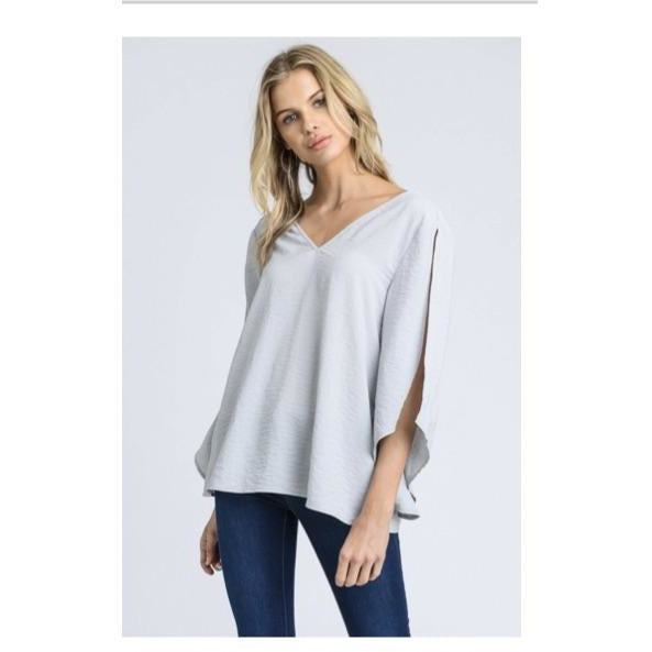 Slit Sleeve, Low Back Blouse (Grey, Blush)