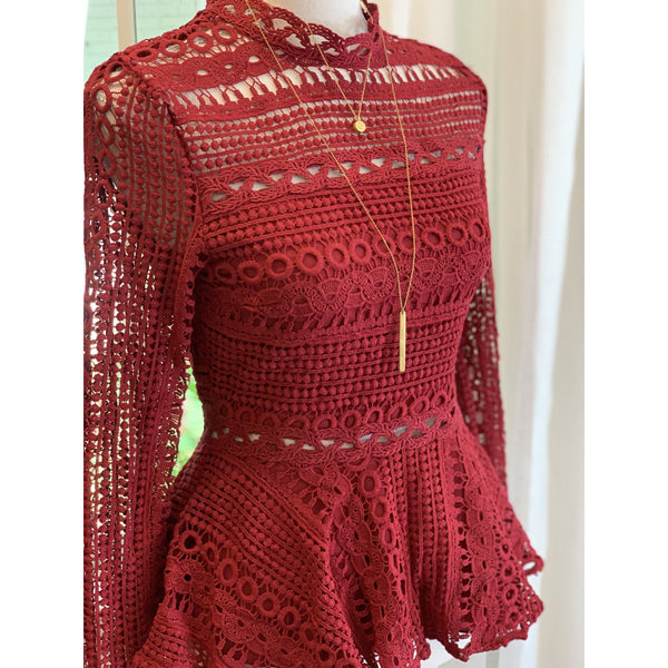 Crochet Peplum Top in Burgundy - The Boho Sophisticate