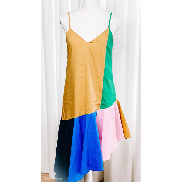 Color Block Asymmetrical Drop Waist Dress