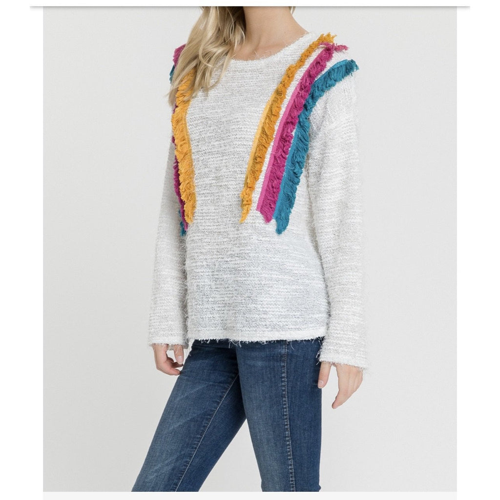 zzJessica Tri-Color Lightweight Sweater - The Boho Sophisticate