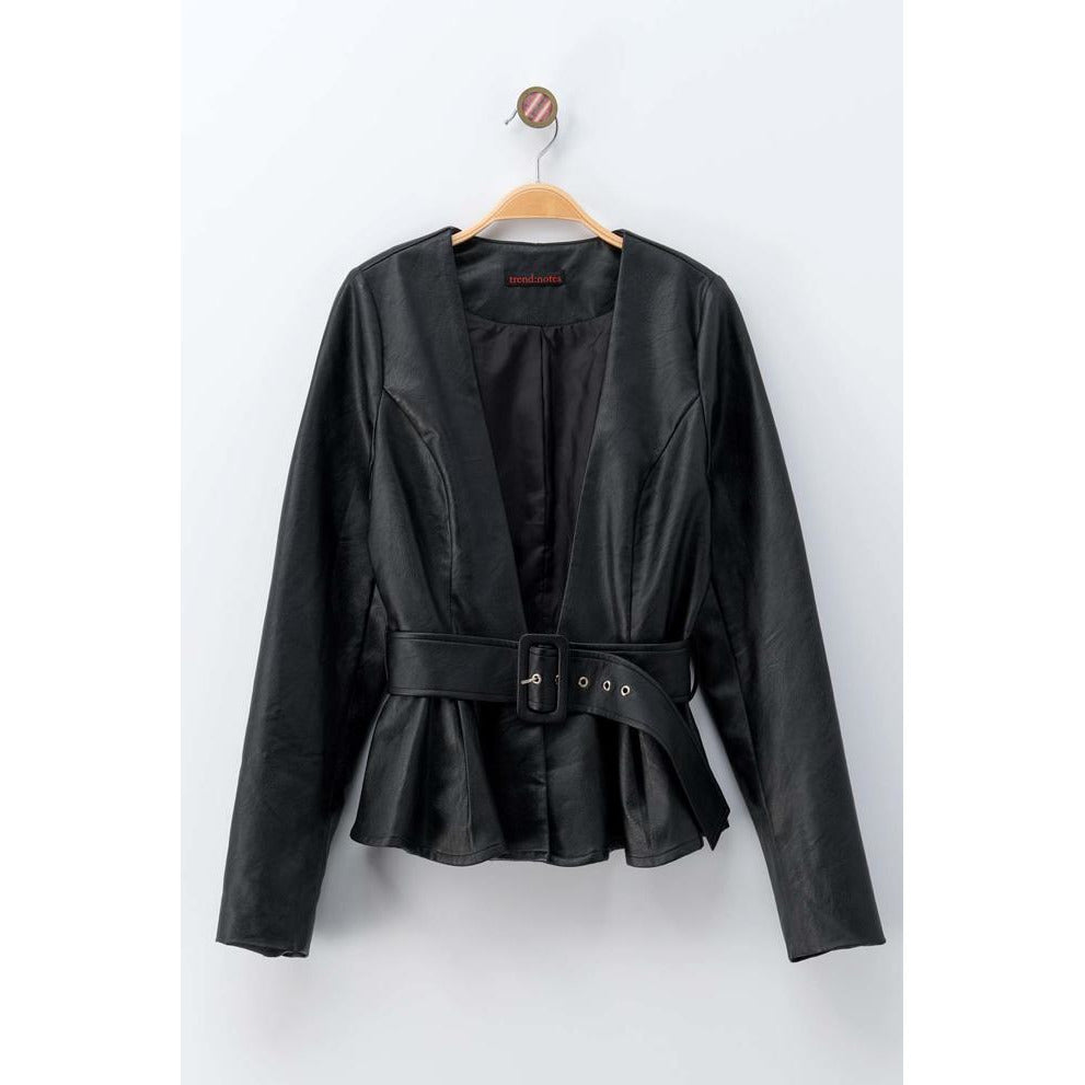 Belted Vegan Leather Cardigan Jacket