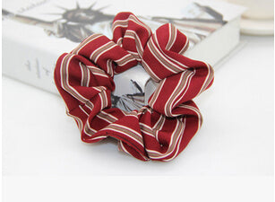 Red Scrunchie w/Nude Stripes