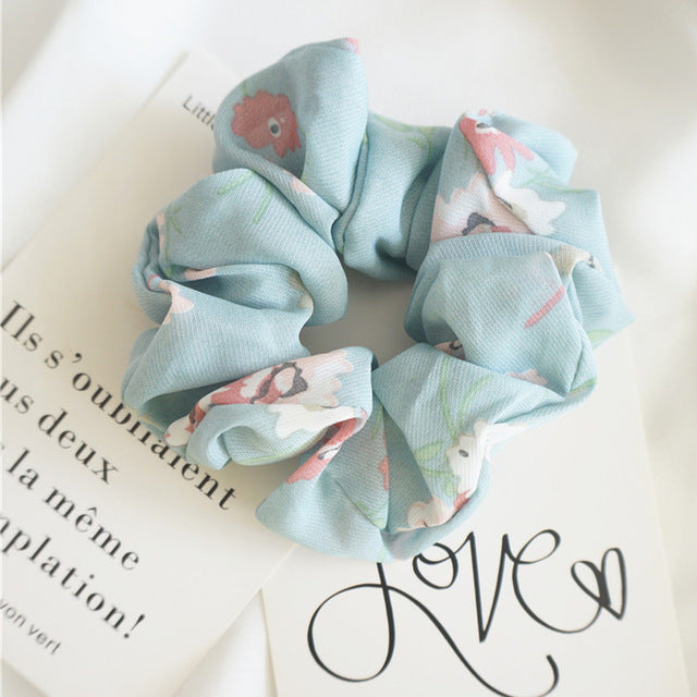 Light Blue Scrunchie w/Pink Flowers