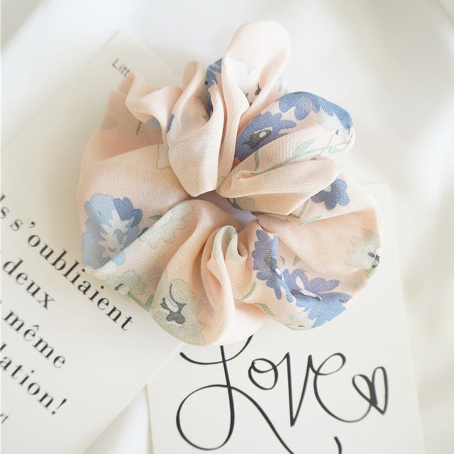 Nude Scrunchie w/Blue Flowers