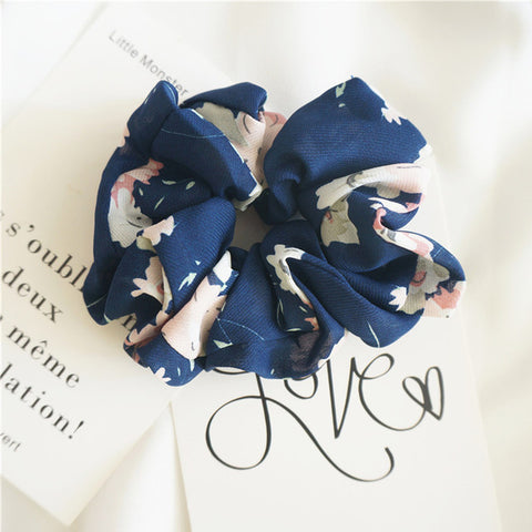 Dark Blue Scrunchie w/Pink Flowers