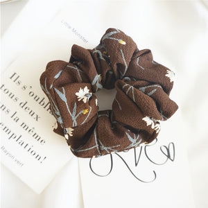 Brown Scrunchie w/White Flowers