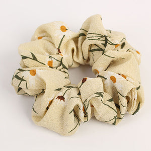 Light Yellow Scrunchie w/White Flowers