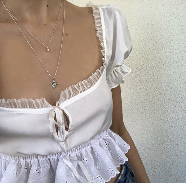 Chiffon Lace Crop Top