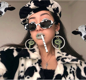 Cow Printed Oval Sunglasses