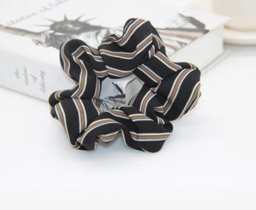 Black Scrunchie w/Brown Stripes